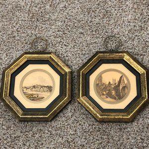 Vintage Decor Framed Prints Set of 2 Octagon Shape